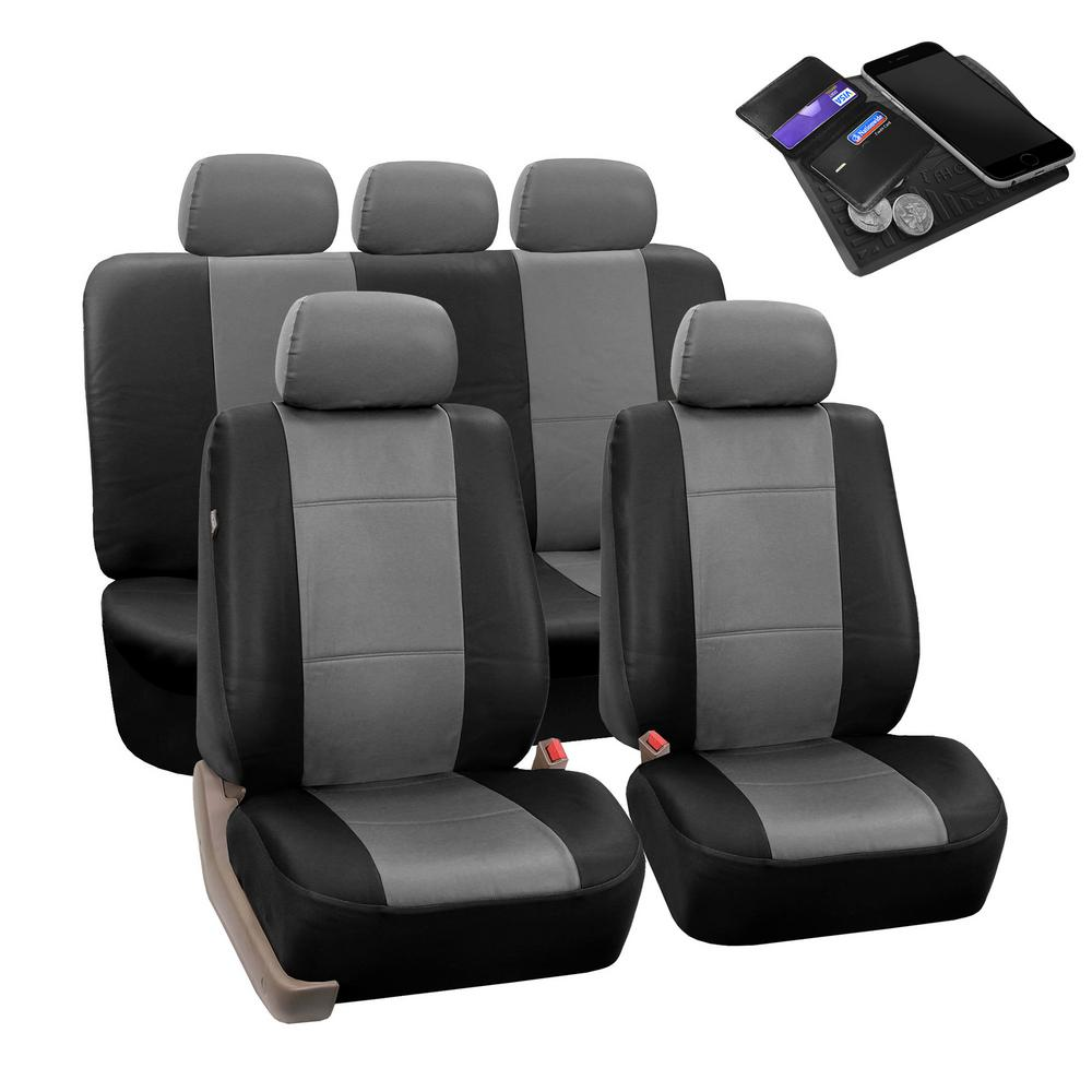 New Black /& Grey Trim Fabric Interior Protection Low Back Car Seat Covers SET