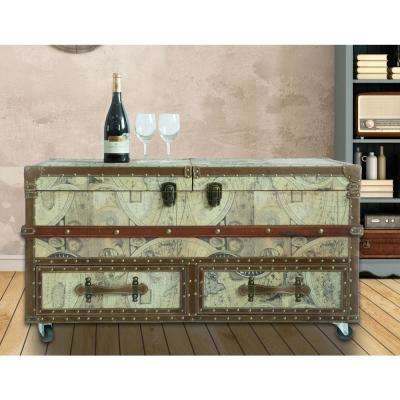 10-Bottle Brown Old World Map Print Coffee End Table and Wine Bar Trunk with Sliding Top and Drawers