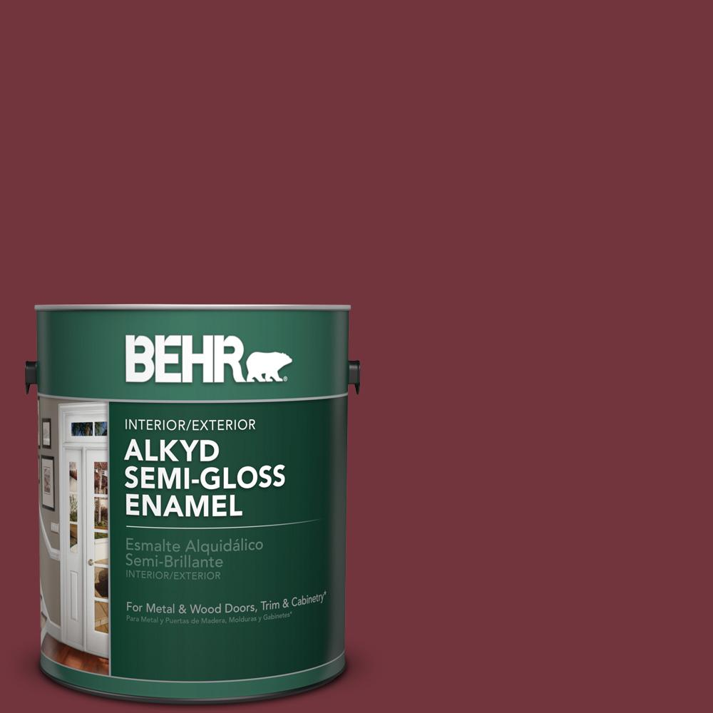 1 gal. #S130-7 Cherry Cola Semi-Gloss Enamel Alkyd Interior/Exterior Paint