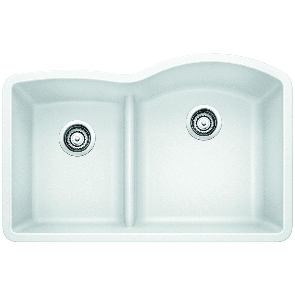 blanco diamond undermount composite 32 in  1 3 4 reverse with low divide bowl kitchen sink in white 441603   the home depot blanco diamond undermount composite 32 in  1 3 4 reverse with low      rh   homedepot com