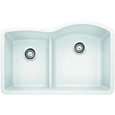 Diamond Undermount Composite 32 in. 1-3/4 Reverse with Low-Divide Bowl Kitchen Sink in White