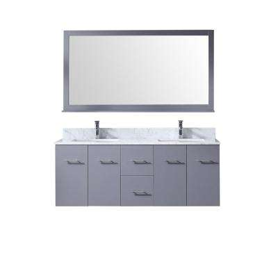 Amelie 60 in. Double Bath Vanity in Dark Grey w/ White Carrera Marble Top w/ White Square Sinks and 60 in. Mirror