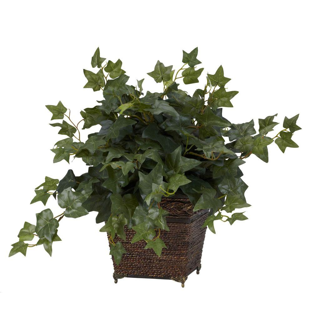 null 17 in. H Green Puff Ivy with Coiled Rope Planter Silk Plant