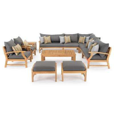 Kooper 11-Piece Wood Patio Deep Seating Conversation Set with Sunbrella Charcoal Grey Cushions