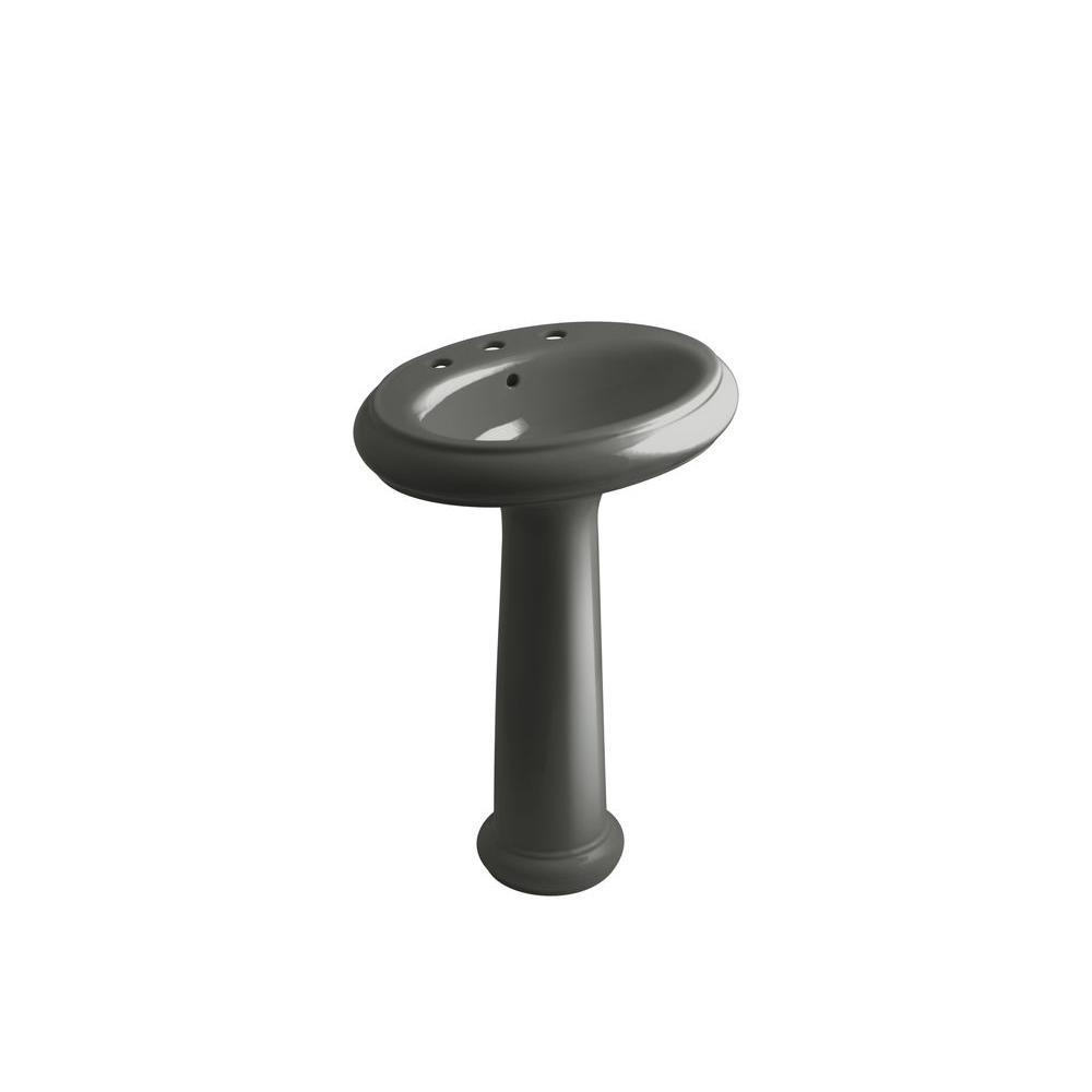 KOHLER Revival Pedestal Combo Bathroom Sink in Thunder Grey-DISCONTINUED