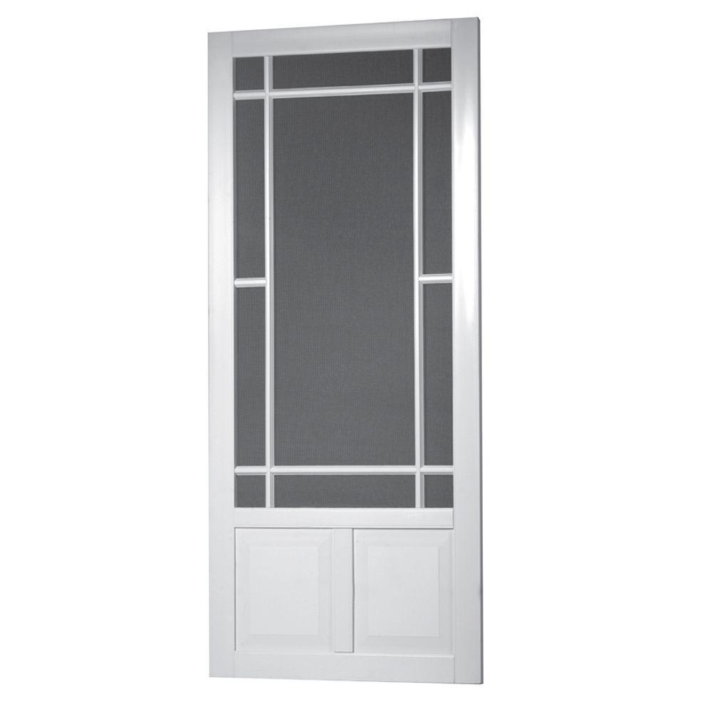 36 in. x 80 in. Prairie View Solid Vinyl White Screen Door