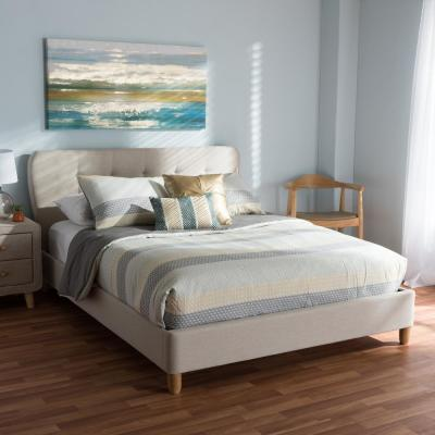 Laureo Mid-Century Beige Fabric Upholstered Full Size Bed