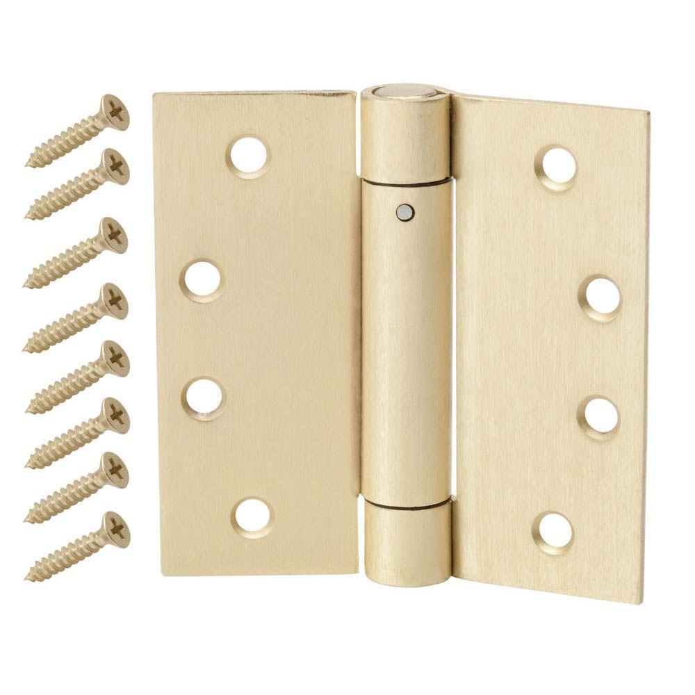 4 in. Satin Brass Adjustable Spring Door Hinge