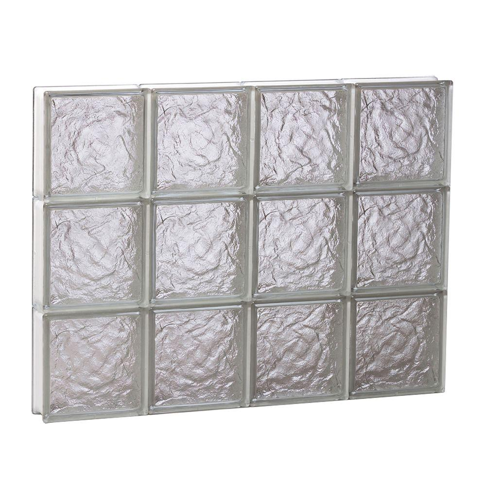 Clearly Secure 31 in. x 23.25 in. x 3.125 in. Non-Vented Ice Pattern Glass Block Window