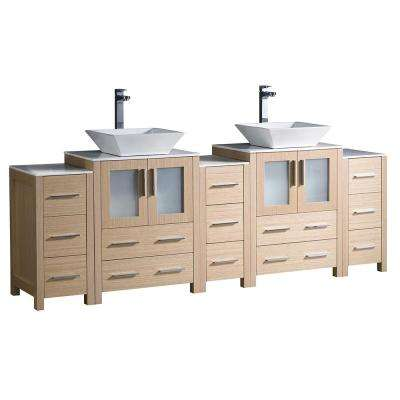 Torino 84 in. Double Vanity in Light Oak with Ceramic Vanity Top in White with White Basin and Side Cabinets