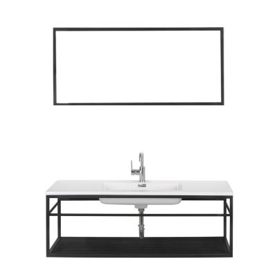 48 in. W x 18.5 in. D Bathroom Vanity in Black with Solid Surface Vanity Top in White with White Basin and Mirror