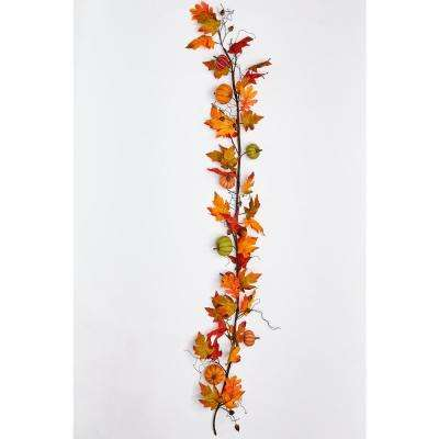 72 in. Burlap Pumpkins with Maple Leaves Garland