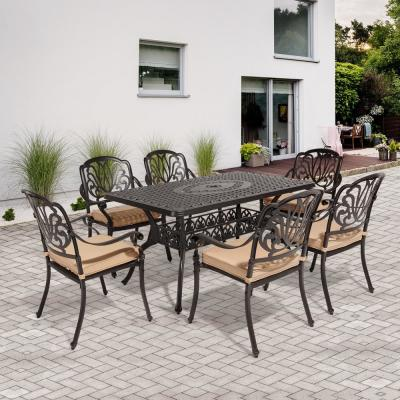 Classic Dark Brown 7-Piece Cast Aluminum Outdoor Dining Set with Rectangle Table and Stackable Chairs with Beige Cushion