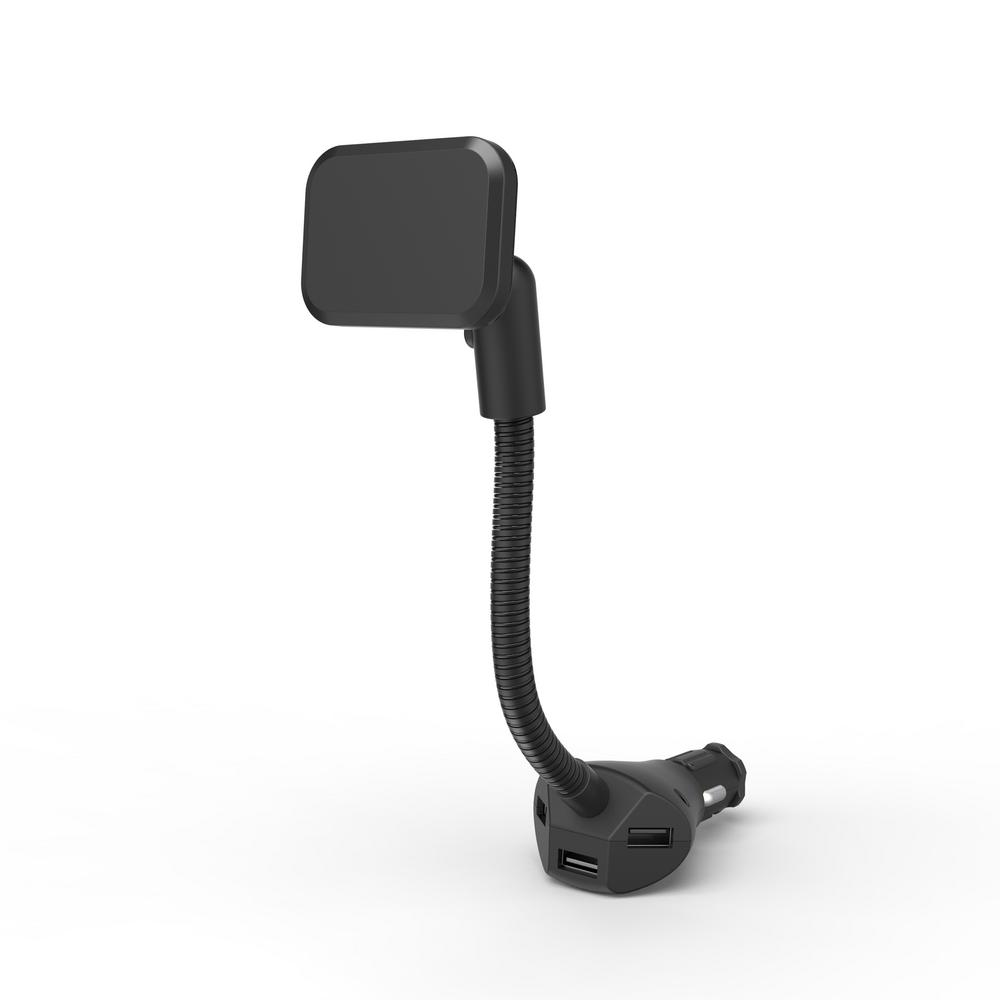 proHT Universal Cigarette Lighter Magnet Phone Mount with 3-USB Charging Ports