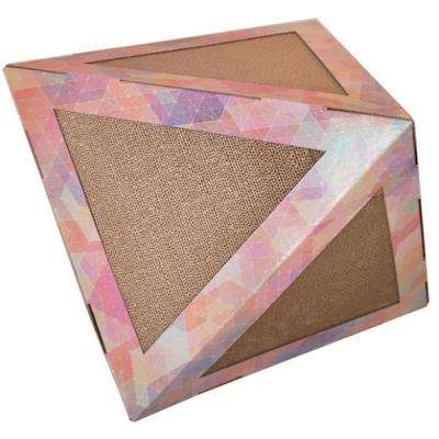 Pink Pattern Triangular Ultra Premium Collapsible Puzzle Pet Cat Scratcher House