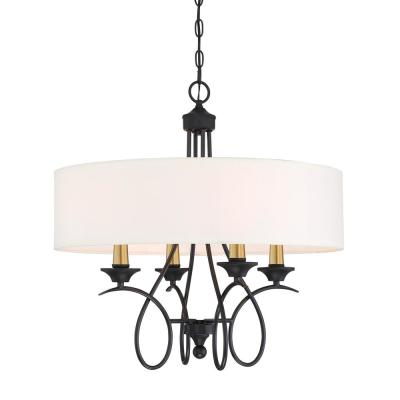 La Courbe 4-Light Black with Antique Brass Pendant with White Fabric Shade