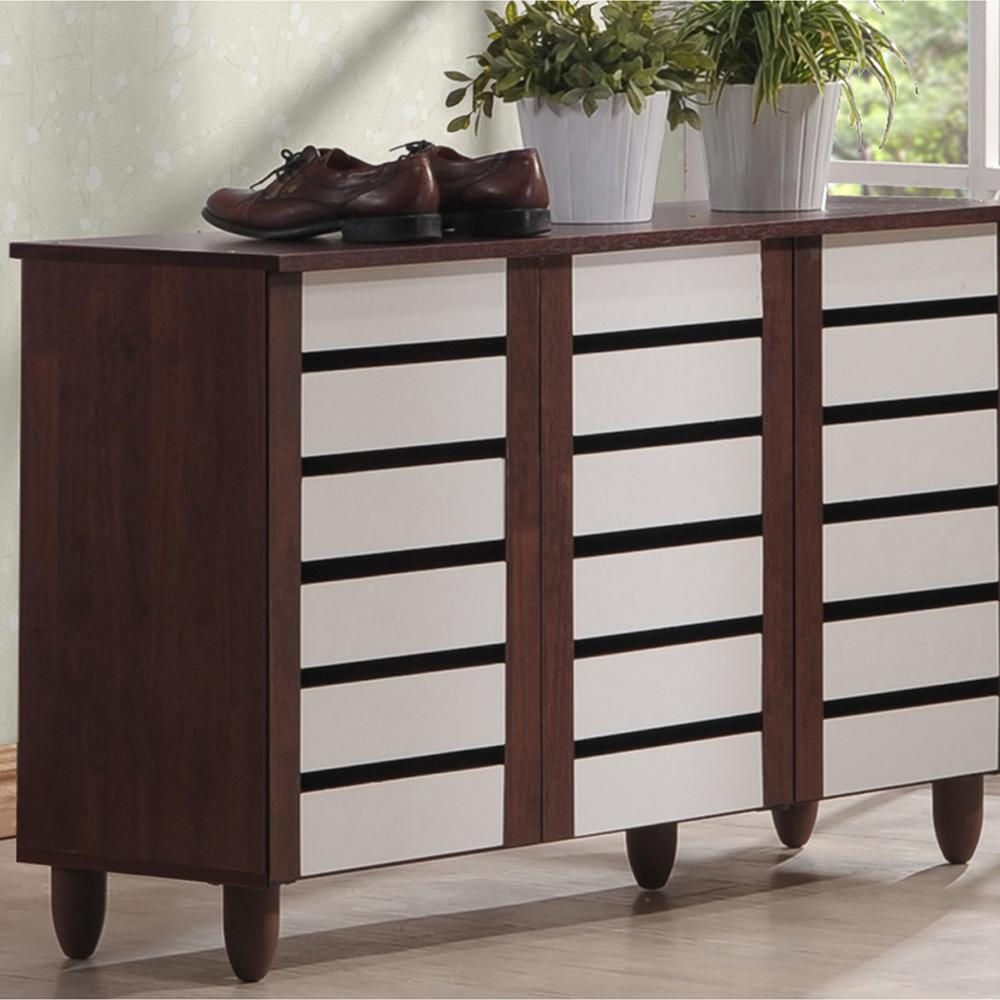 Gisela White and Medium Brown Wood Wide Storage Cabinet