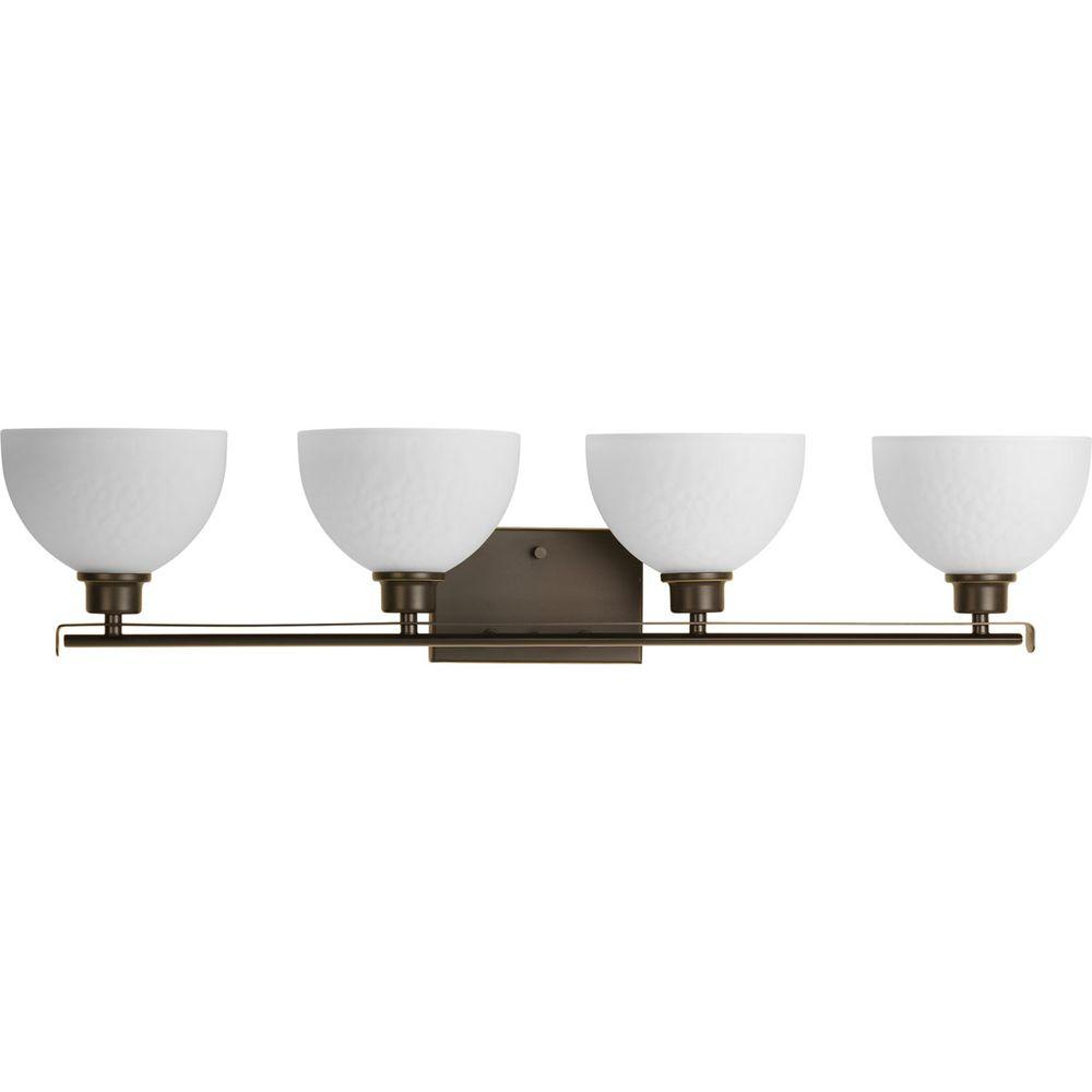 Legend Collection 4-Light Antique Bronze Vanity Light with Sculpted Glass Shades