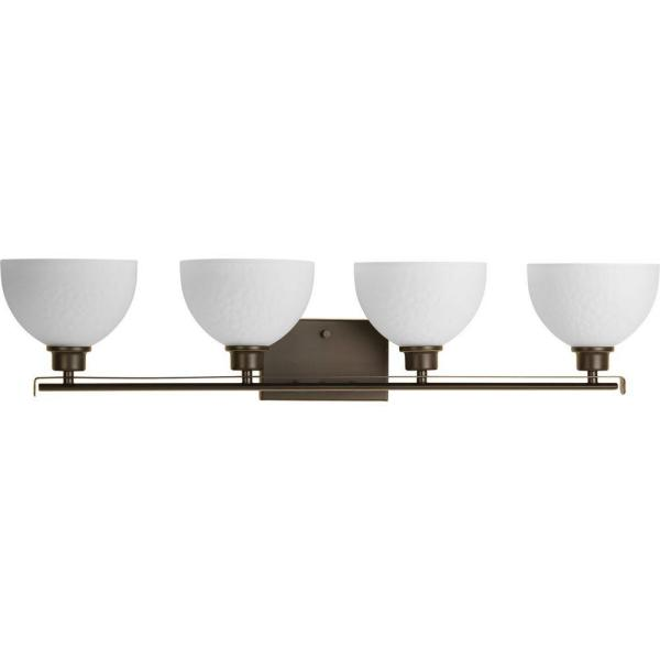 Legend Collection 4-Light Antique Bronze Bathroom Vanity Light with Glass Shades