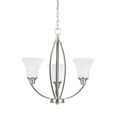Metcalf 3-Light Brushed Nickel Single Tier Chandelier