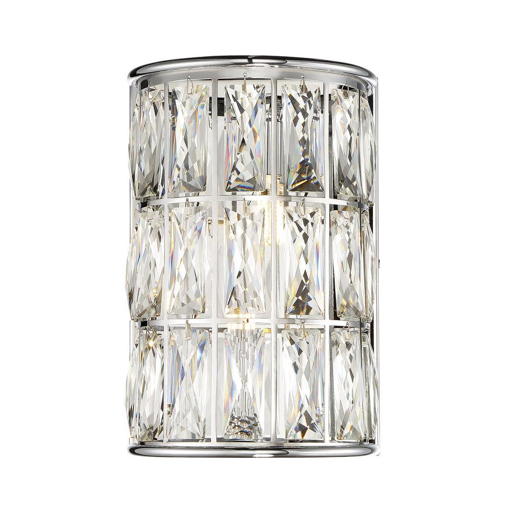 2-Light Polished Chrome Sconce with and Clear Crystal Accents