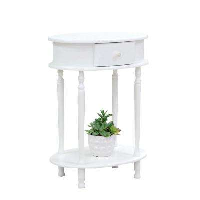 White Oval End Table