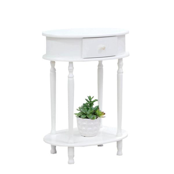 Homecraft Furniture White Oval End Table WH114