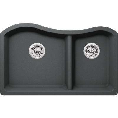 Undermount Granite Composite 32-1/2 in. 60/40 Double Bowl Kitchen Sink in Grey