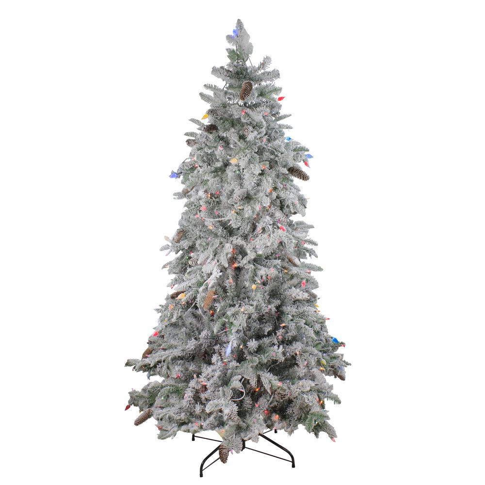 Slim 7 5 Ft Christmas Tree: Northlight 7.5 Ft. Pre-Lit Flocked Dunton Spruce Slim