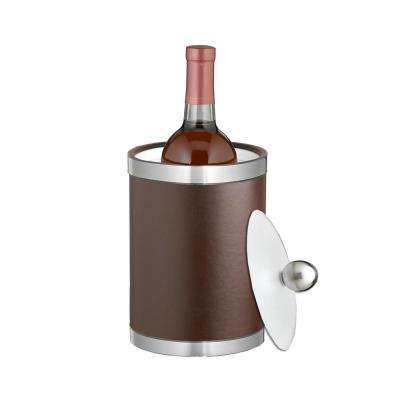 Sophisticates 2 Qt. Brown and Brushed Chrome Tall Ice Bucket with Lucite Lid