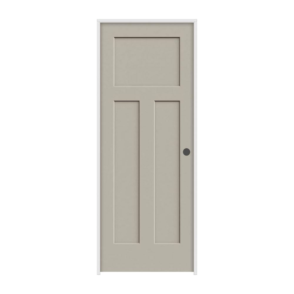 JELD-WEN 32 in. x 80 in. Craftsman Desert Sand Left-Hand Smooth Solid Core Molded Composite MDF Single Prehung Interior Door