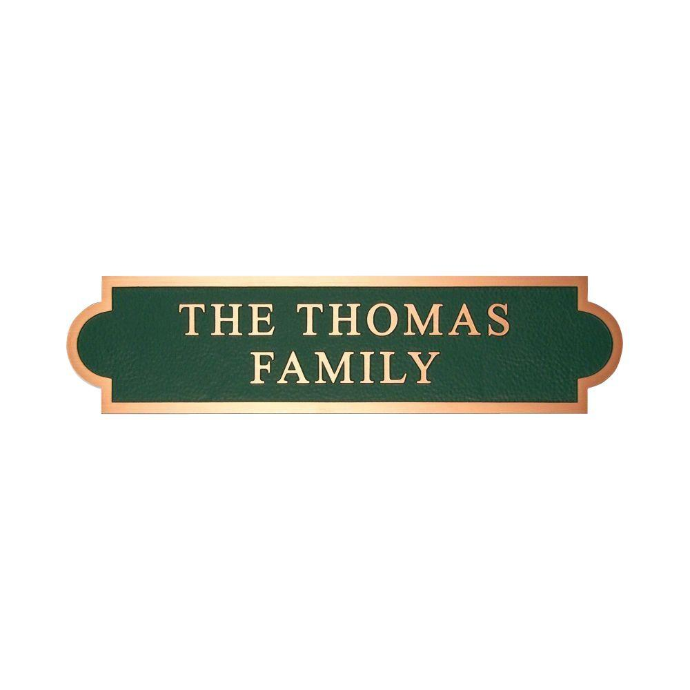 Michael Healy 16.5 in. x 4 in. Classic Double Arch Authentic Solid Bronze Address Plaque in Green-DISCONTINUED