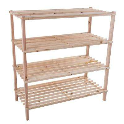 12-Pair 4-Tier Wooden Shoe Organizer Rack