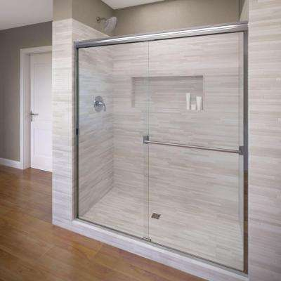 Classic 47 in. x 70 in. Semi-Frameless Sliding Shower Door in Chrome with Clear Glass