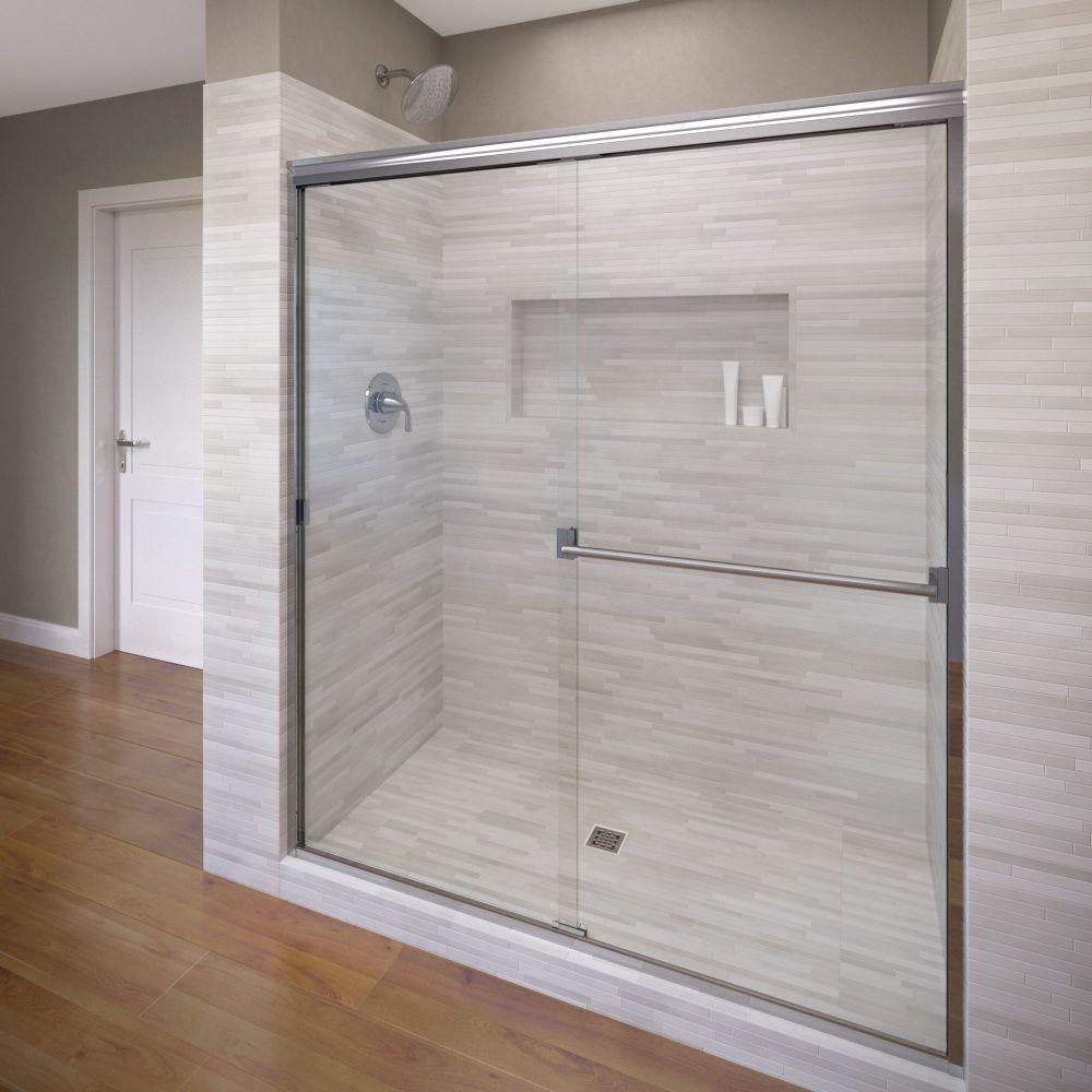 Basco Clic 60 In X 70 Semi Frameless Sliding Shower Door Chrome With Clear Gl