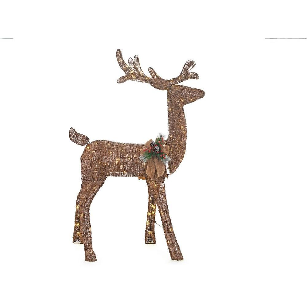 pre lit grapevine animated standing deer - Christmas Deer Yard Decorations