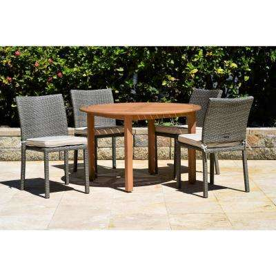 Berlin 5-Piece Wood/Wicker Round Outdoor Dining Set with Grey Cushions