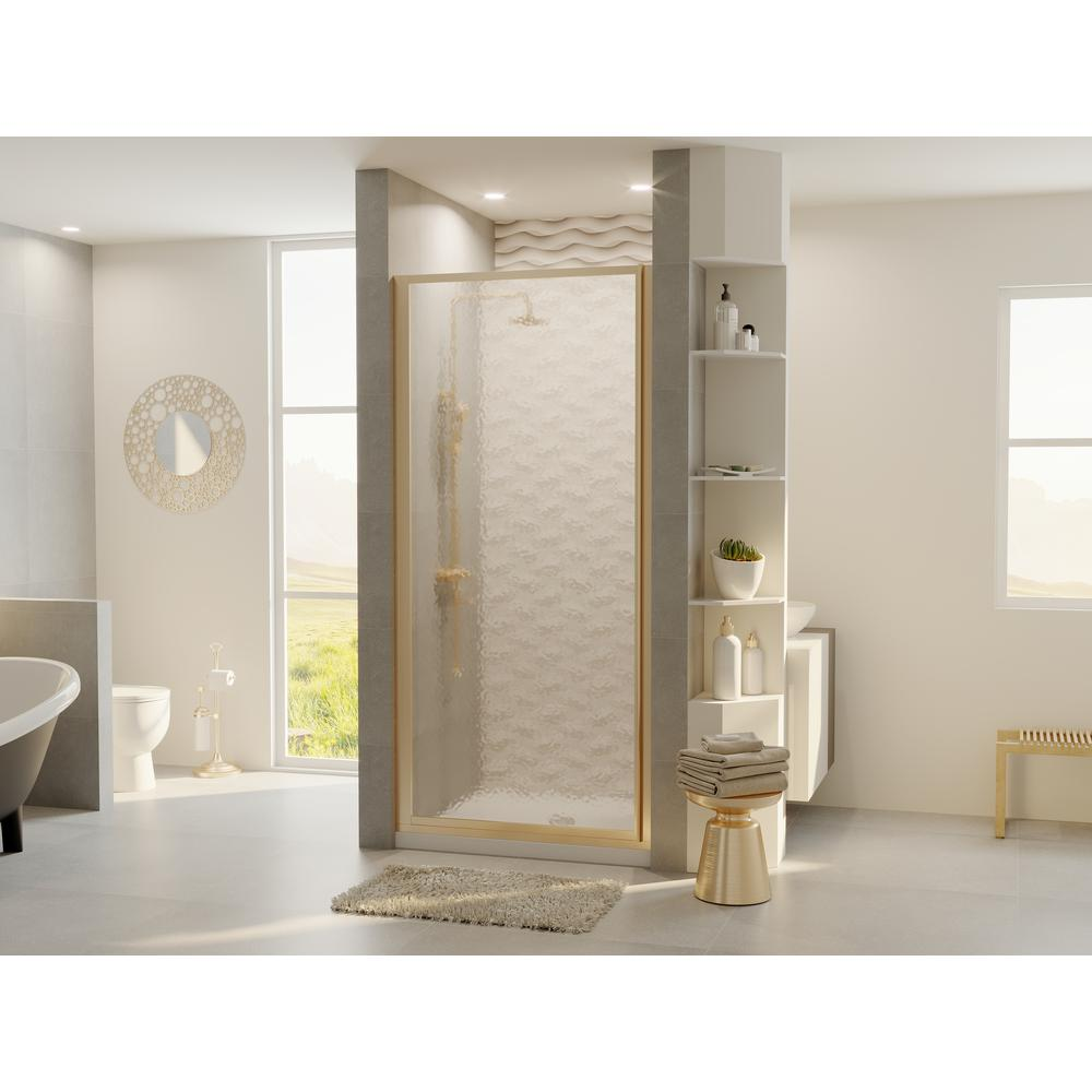 Coastal Shower Doors Legend 33.625 in. to 34.625 in. x 68 in. Framed Hinged Shower Door in Brushed Nickel with Obscure Glass
