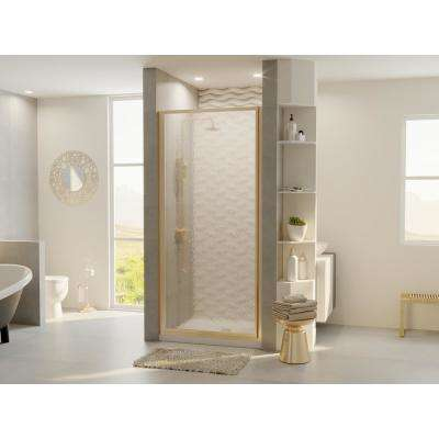 Legend 33.625 in. to 34.625 in. x 68 in. Framed Hinged Shower Door in Brushed Nickel with Obscure Glass