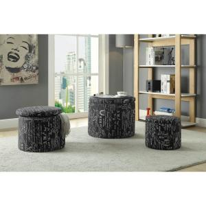 Cool Acme Furniture Rapa Dark Blue Linen 3 Piece Storage Ottoman Gmtry Best Dining Table And Chair Ideas Images Gmtryco