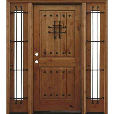 70in.x80in. Rustic 2-Panel V-Groove Stained Knotty Alder Wood Prehung Front Door w/6 in. Wall Series and 14in. Sidelites