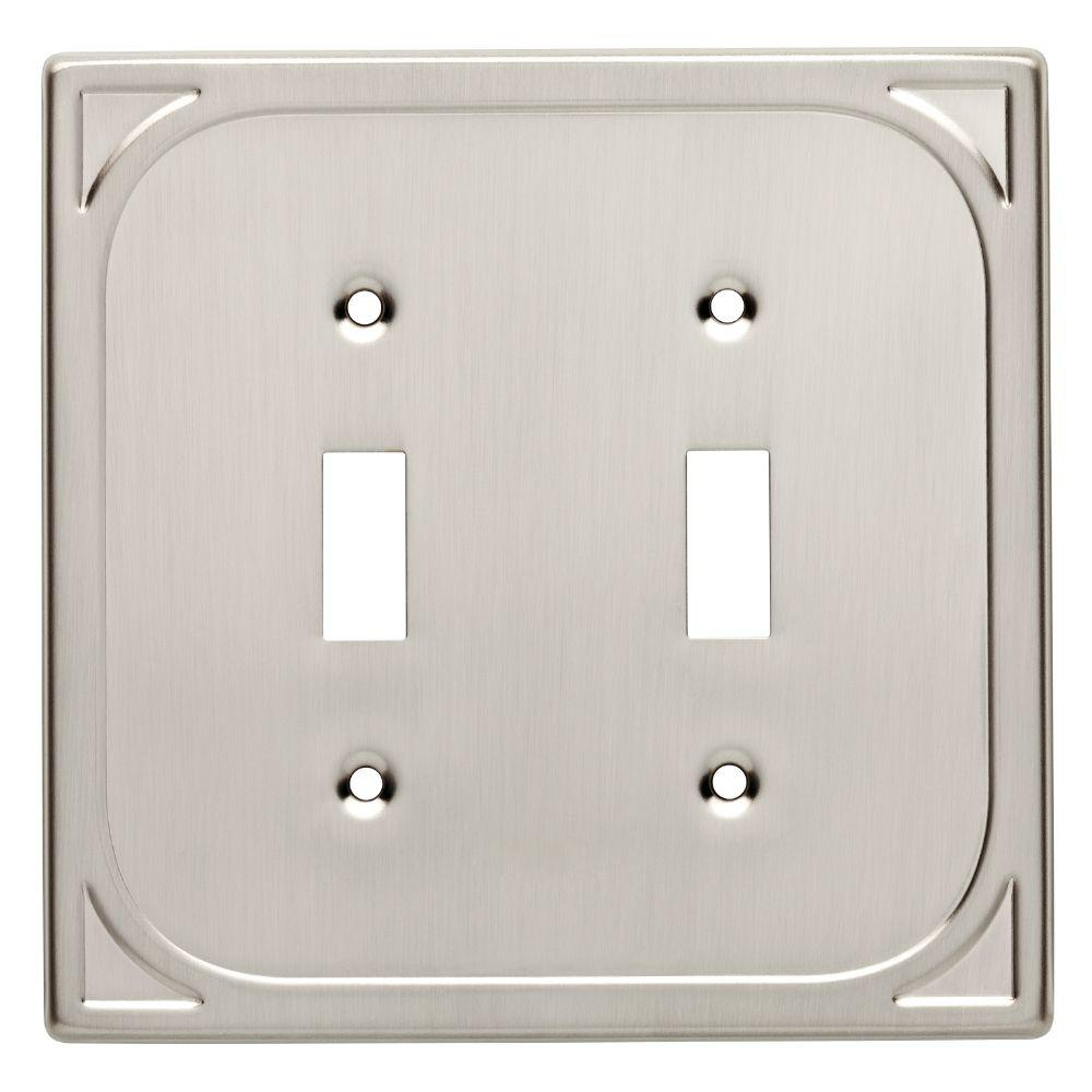 Cambray Decorative Double Switch Plate, Satin Nickel
