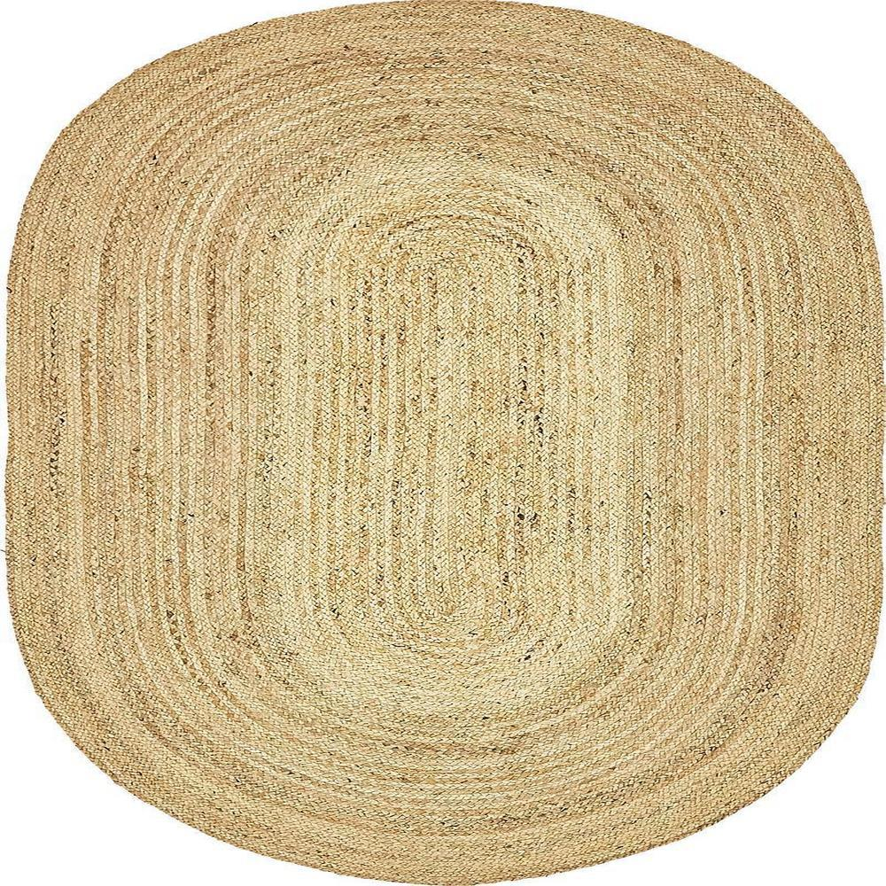 Unique Loom Braided Jute Natural 5 Ft X 8 Oval Area Rug