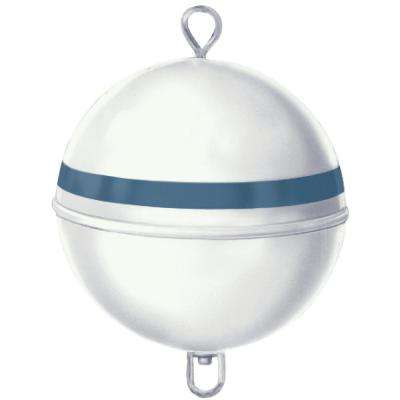 15 in. Dia Premium Mooring Buoy with 46 lb. Buoyancy in White with Blue Reflective Tape