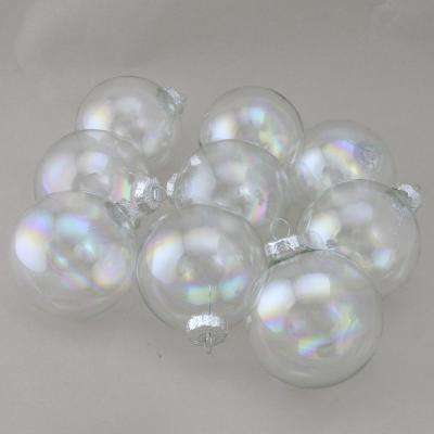 2.5 in. (65 mm) Iridescent Glass Ball Christmas Ornament Set (9-Piece)