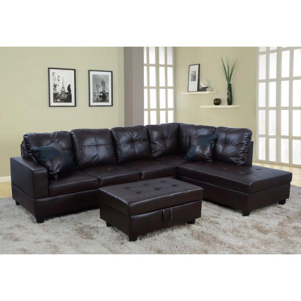 Brown Right Chaise Sectional with Storage Ottoman SH093B