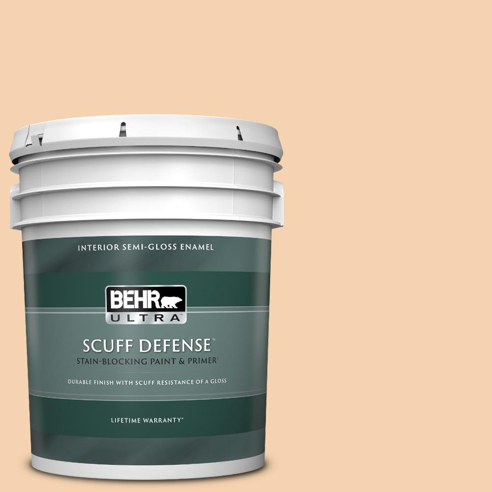 Behr Ultra 5 Gal Ppl 42 Warm Apricot Extra Durable Semi Gloss Enamel Interior Paint And Primer In One 375005 The Home Depot