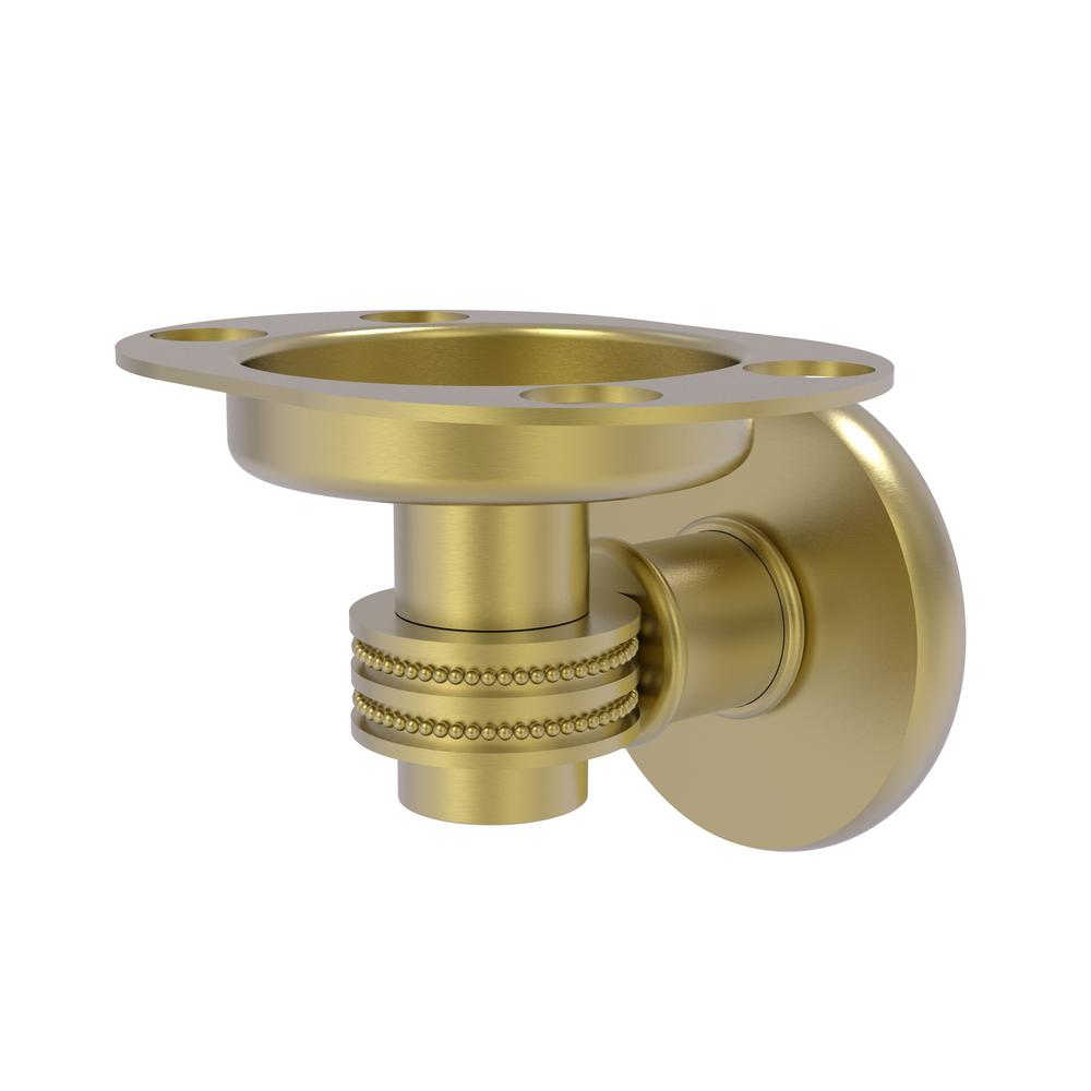 Allied Brass Continental Collection Tumbler and Toothbrush Holder with Dotted Accents in Satin Brass