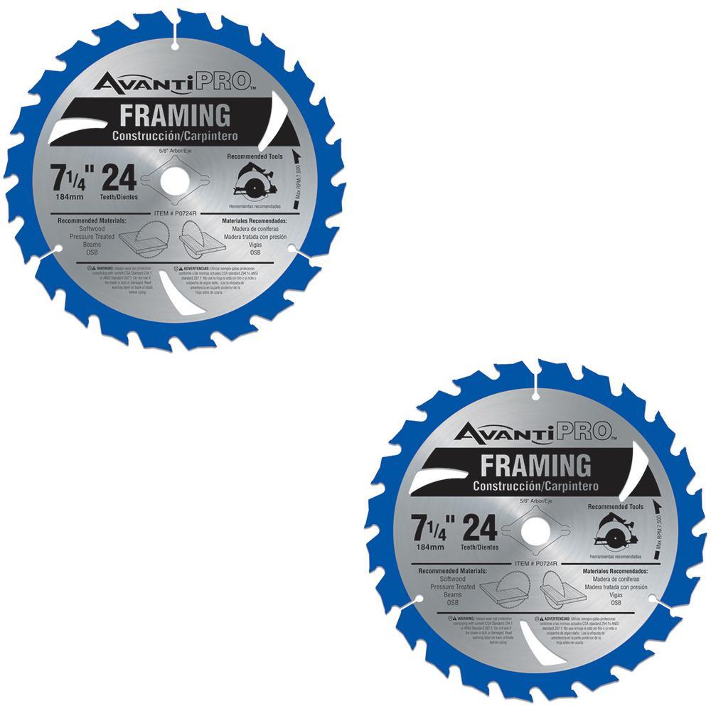 2-Pack Avanti Pro 7-1/4 in. x 24 Teeth per in. Framing Saw Blade