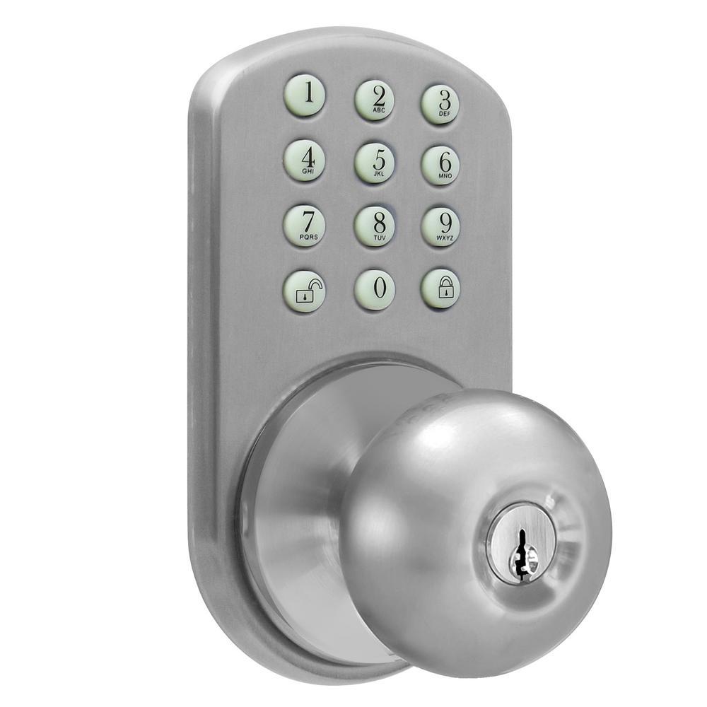 MiLocks Keyless Satin Nickel Entry Door Knob-TKK-02SN
